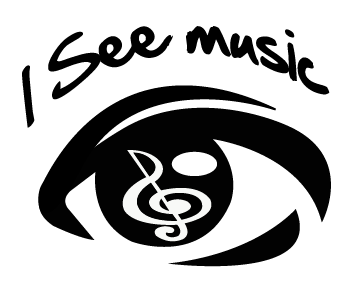 I See Music logo: a drawing of an eye, the eye brow are the words 'I See Music', the iris of the eye is a G Clef note